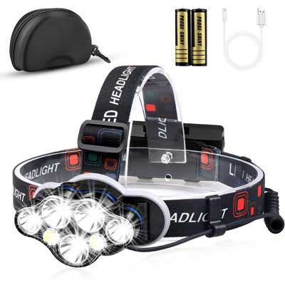 10. MOICO Headlight Flashlight w/White and Red Lights, Waterproof and USB Rechargeable
