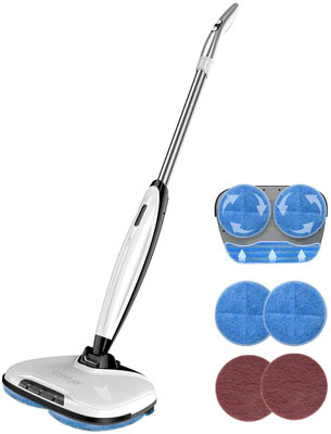 #2. Comfyer Swift 2 in 1 Cordless Scrubber Electric Spin Mop with Microfiber Pads