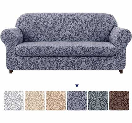 7. subrtex Sofa Slipcover with Seat Cushion (Large, Grayish Blue)