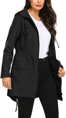 #8. Avoogue Waterproof Windbreaker Lightweight Women Lined Rain Jacket S-XXL