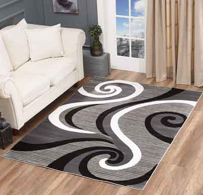 #8. Golden Rugs Modern Area Living Room Carpet, Grey