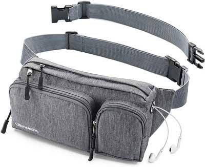 #3. OlimpiaFit Money Belt Headphone Hole with 6 Pockets Easy to Carry Unisex Cute Waist Bag