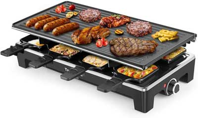 #4. Techwood Double-Sided Grill Plate 1500W Multifunctional Outdoor Electric Grill (Black)