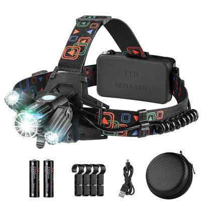 4. NUÜR Rechargeable Headlamp with Four Lighting Modes for Camping, Hiking, and Fishing