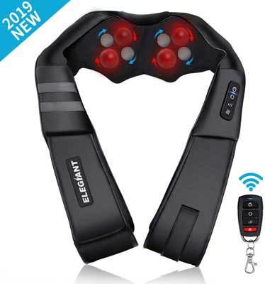 #2. ELEGIANT 2019 Model Shiatsu Wireless Neck and Back Massager for Muscle Relaxation