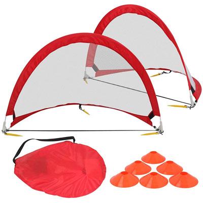 #4. HomeGarden Pop Up Soccer Goals Set of 2 Portable Soccer Target Nets