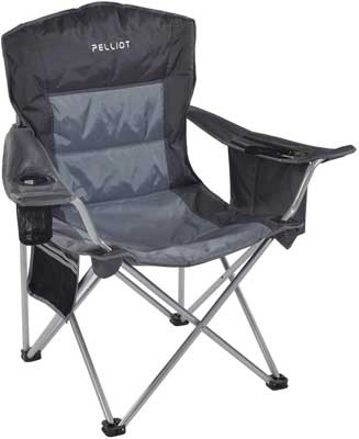 #5. PELLIOT Heavy-Duty Back Supports 330 lbs. Padded Arm with Cup Holder Folding Camp Beach Chair