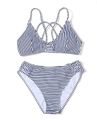#2. YOLIPULI Blue White Striped Two Piece Strappy Crossed Bikini Swimsuit