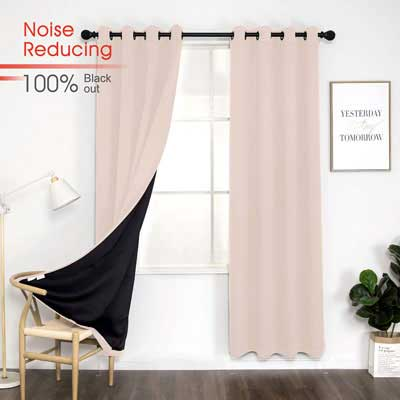 4. BEAUTIROX Thermal 100% Blackout Noise Reducing Grommet Curtain, Pink