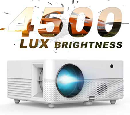 #5. Hompow 4500 Lux Brightness 50000 Hours LED Full HD 1080P Video Projector