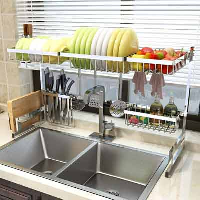 #2. PUSDON Over-the-Sink 32'' Stainless Steel Kitchen Space-Saver Dish Drying Rack (Silver)