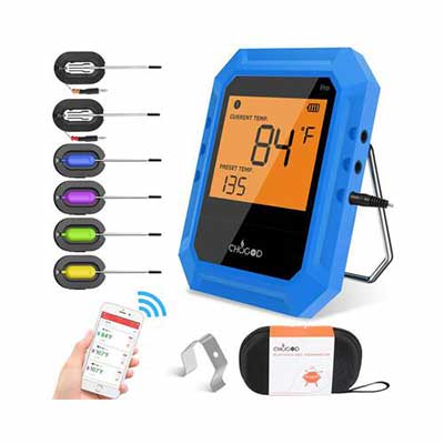 3. Chugod Wireless BBQ Digital Cooking Thermometer w/6 Stainless Steel Probes (Blue)