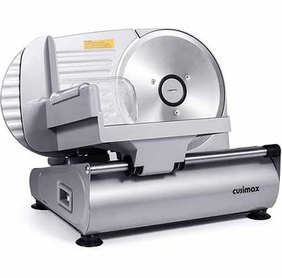 4. CUSIMAX Non-Slip Feet 7.5 Inch Removable Stainless Steel Blade Electric Meat Slicer w/Pusher