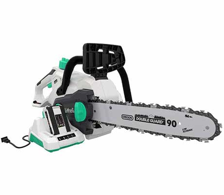 #7. LiTHELi 40V 14 Inch 2.5AH Battery & Charger Cordless Chainsaw w/Brushless Motor