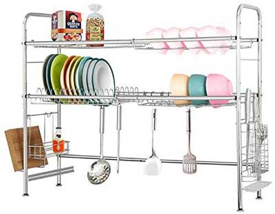 #10. NEX 2 Tier Adjustable Double Groove Chopstick Holder Stainless Steel Drying Dish Rack
