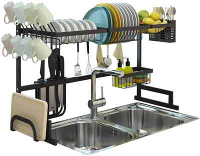 #4. Auramor 7-Interchangeable Racks & Caddies Over-the-Sink Dish Drying Rack