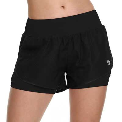 #2. BALEAF 2-IN-1 Women's Workout Shorts Back Pocket Non-Chaffing & Non-See Through