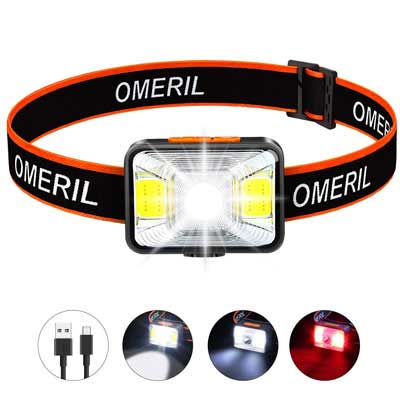 9. OMERIL Rechargeable Headlamp with 200 Lumens, IPX5 Waterproof for Kids & Adult