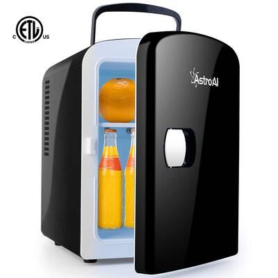 #7. AstroAI 4L/6 Can Thermo-Electric Mini Fridge 600 AC/DC Cooler & Warmer (Black)