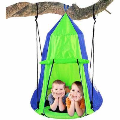 6. SereneLife SLSWNG350 Indoor/Outdoor Hammock Nest Kids Hanging Saucer Tree Swing