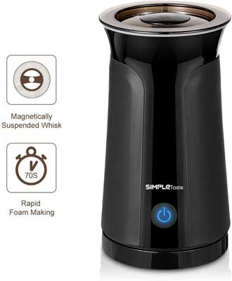 4. SIMPLETASTE Magnetic Spinning Electric Frother for Cappuccinos, Coffee and Milk