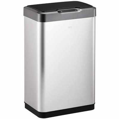 #8. EKO Rectangular Mirage-T 50 Liter/13.2 Gallon Stainless Steel Finish Motion Sensor Trash Can