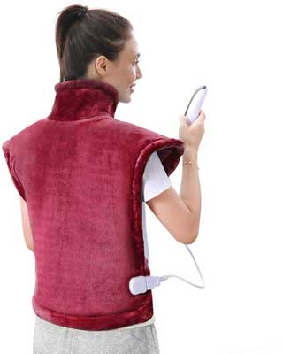 #5. MaxKare 24'' x 33'' Heat Wrap 5 Heat Settings for Back and Shoulder Pain –Crimson