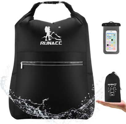 #6. RUNACC 20L with Free Waterproof Phone Casing for Beach, Kayaking Dry Backpack