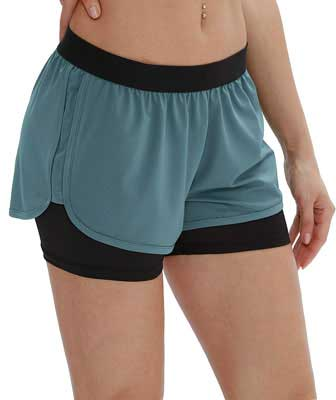 #8. iCyzone Activewear Workout Exercise Athletic Jogging 2-in-1 Shorts