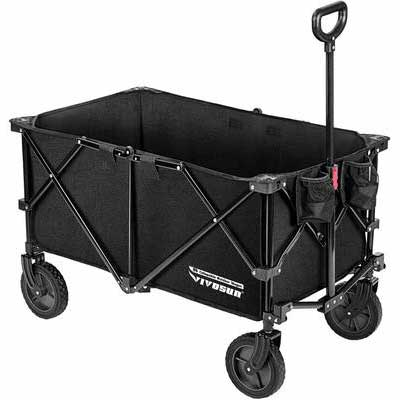 7. VIVOSUN Universal Adjustable Black Heavy-Duty Collapsible Outdoor Folding Wagon w/Wheels