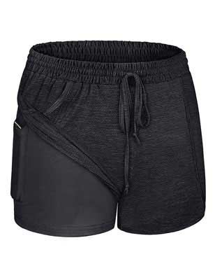 #4. Blevonh Women's Trendy with Inner Pocket Drawstring Banded Waist Workout Shorts