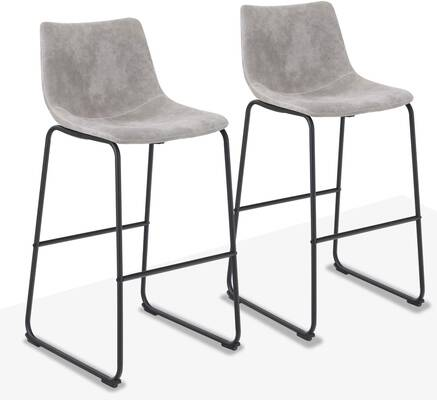 7. ALPHA HOME 350lbs 30 Inch Counter Height Stools Vintage Bar Height Stools Pub Kitchen (Grey)