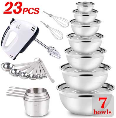 #5. WEPSEN 23 Pcs Stainless Steel with Cups & Spoons Electric Hand Mixer for Beginners