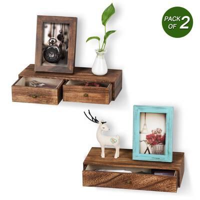 #5. Emfogo Multiuse Floating Shelf with Drawer Set of 2 Rustic Wood Wall Shelving Storage