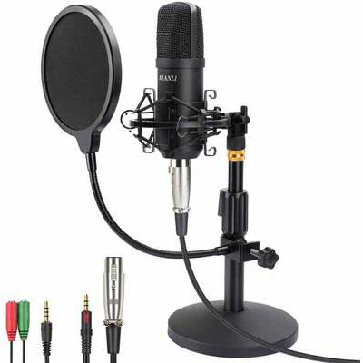 6. MANLI 3.5mm XLR Pop Filter Professional Studio Computer PC Condenser Microphone (Black)