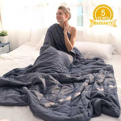 #7. Isilila Glass Queen Size Cotton Weighted Blanket for Kids and Adults (Gray)