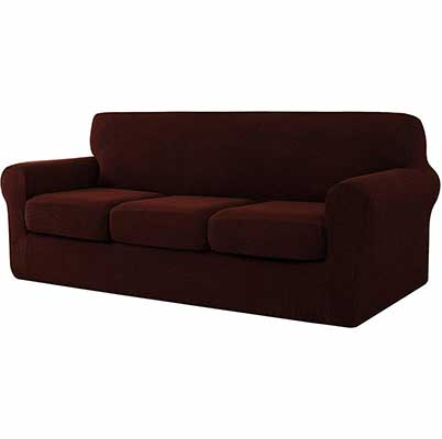 4. CHUN YI 4-Piece Sofa Cover with Three Separate Cushions