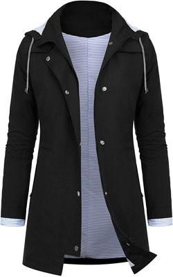 #3. AUDIANO Women Lightweight Striped Lined Waterproof Active Outdoor Hooded Rain Coat