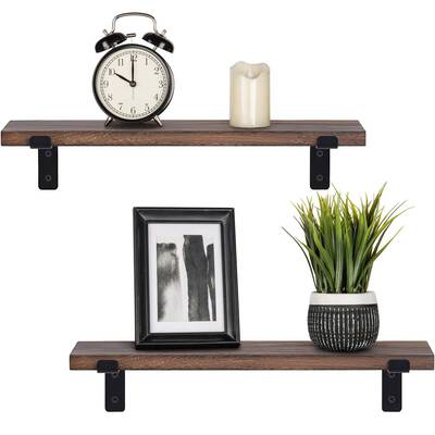 #6. Mkono Set of 2 Rustic Wood Floating Industrial Wall Mounted Shelving with Lip Brackets