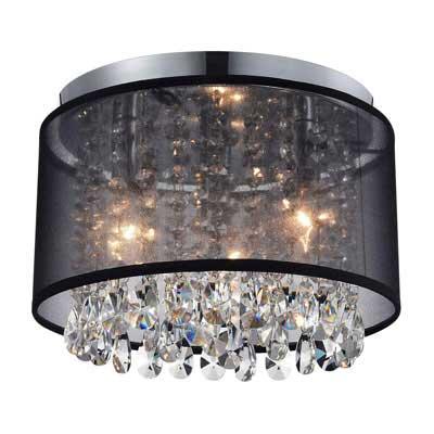 #3. MO&OK Black Mini Chandelier Crystal Drum Gauze 3 Light for Bedroom