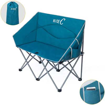 #3. Nice C Loveseat Strap Carry Bag Sturdy 2-in-1 Extensive Usage Oversized Folding Camp Chair
