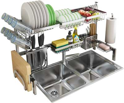 #1. Skywin 2-Tier Stainless Steel Over-the-Sink kitchen Dish Rack for Counter Over-the-Sink