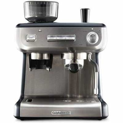6. Calphalon Stainless Steel BVCLECMPBM1 Grinder & Steam Wand Temp iQ Espresso Machine