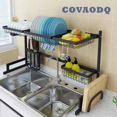 #5. COVADQ Kitchen Organizer Utensils Holder Stainless Steel Dish Drying Rack (Black)