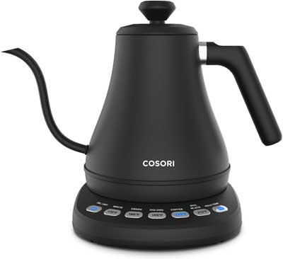 #2. COSORI 5 Variable Preset 100% Stainless Steel 1200W 0.8L Electric Gooseneck Kettle (Matte Black)
