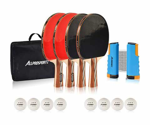 #4. Allprosportz Ping Pong Paddles with an Adjustable Net