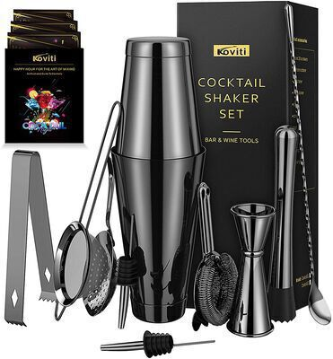 4. KOVITI Black 12Pcs Stainless Steel Premium Cocktail Shaker Set Bartender Kit for Home, parties