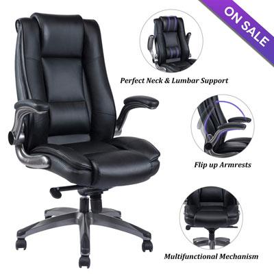 #5. VANBOW High Back Leather Adjustable Tilt Angle & Flip-up Computer Desk Chair