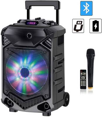 6. Shinco Flashing Party Light 12Inch Woofer Bluetooth Portable PA System Karaoke Machine