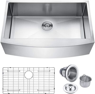 3. KEONJINN 33inch 16 Gauge Apron-Front Farmhouse Stainless Steel Single Bowl Kitchen Sink